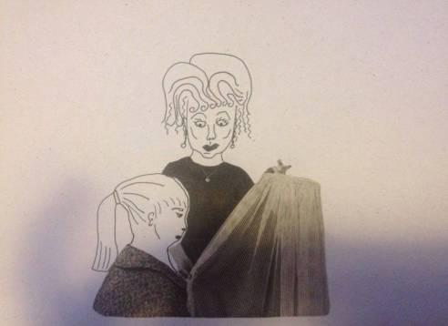 Tas moteriškumas (moters rankose laikoma skraistė) mergaitės visai nežavėjo, Björg Sveinbjörnsdóttir kūrinys.