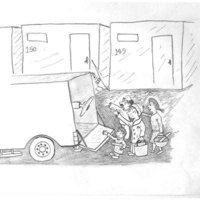 Duonos dalijimas. Canaano Bitaro karikatūra
