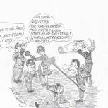 Kameros. Canaano Bitaro karikatūra