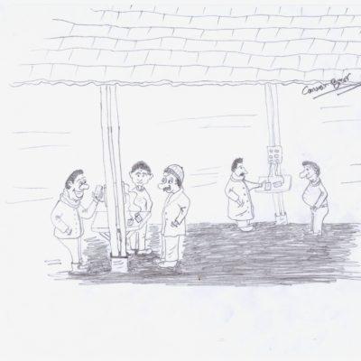 Telefonų įkrovimo priebėga. Canaano Bitaro karikatūra