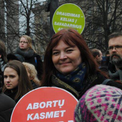 Neringa Dangvydė protesto akcijoje prieš abortų draidimą, 2014 m., Vilmos Fioklos Kiurė nuotr.