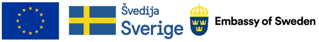 ES, Švedijos ir Švedijos ambasados logotipai.